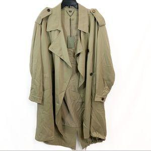 New All Saints Lia Mac Trench Coat Sage Green $498